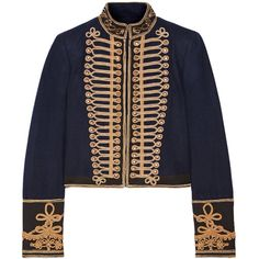 Alice + OliviaPhoenix Cropped Embroidered Cotton-trimmed Wool-felt... (39.830 RUB) ❤ liked on Polyvore featuring outerwear, jackets, midnight blue, alice olivia jacket, embroidered jacket, cropped military jackets, military style jacket and military inspired jacket