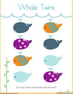Preschool Fine Motor Skills Sorting & Categorizing Worksheets: Matching: Whale Twins