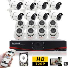 SUNCHAN HD 16CH Video Surveillance CCTV System 1080N HVR NVR AHD DVR Kit with 16pcs 1200TVL 720P Outdoor Security Cameras 1TB