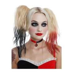 DC Comics Harley Quinn Choker Hot Topic ($6.80) ❤ liked on Polyvore featuring jewelry, necklaces, long necklaces, circle jewelry, pendant choker necklace, choker pendants and circle necklace
