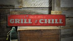 Grill & Chill Wood Sign, Custom Grill Master Name Sign, Distressed Man Cave Patio Decor - Rustic Hand Made Vintage Wooden Sign Decor Wooden Diy, Wooden Signs, Pine Trim, Grill N Chill, How To Make Signs, Grill Master, How To Distress Wood, Name Signs, Shop Signs