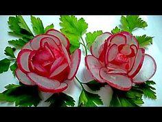 Цветы из редиса. Украшения из овощей. Decoration Of Vegetables - YouTube