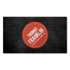 Rustic Red Stamped Logo on Black Woodgrain - Customizable Business Card Template - great for catering, chefs, restaurants, food trucks, foodies, food bloggers, crafters, Etsy sellers, etc.