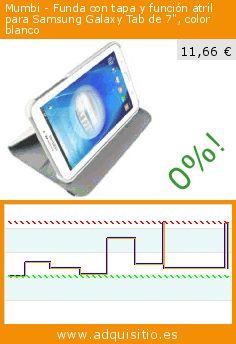 """Mumbi - Funda con tapa y función atril para Samsung Galaxy Tab de 7"""", color blanco (Accesorio). Baja 45%! Precio actual 11,66 €, el precio anterior fue de 21,14 €. https://www.adquisitio.es/mumbi/funda-tapa-y-funci%C3%B3n"""