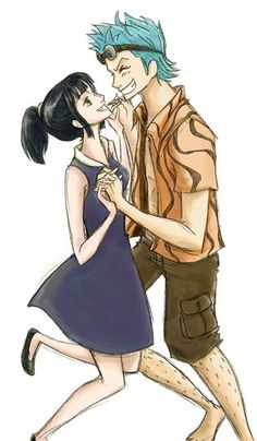 Franky and Nico Robin: I used to ship this... when I see younger pictures of them such as this one I still do, but she is waaay to serious minded to be a relationship with him.