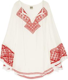 Embroidered Silk Tunic - Lyst