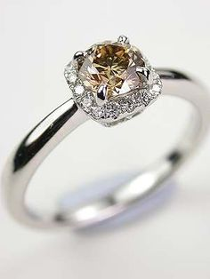 Fancy Champagne Diamond Engagement Ring  | Topazery, RG-3274, This natural fancy champagne diamond vintage style engagement ring is from the Topazery Earth Collection.