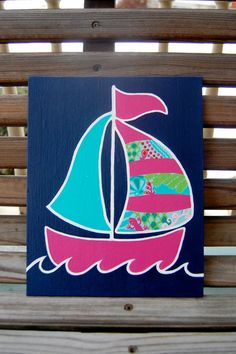Hand Painted Lilly Pulitzer Inspired Sailboat by SororitySweety