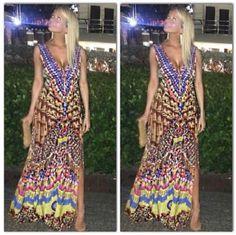 Dina Manzo Wearing Parides Tribal Heritage Sleeveless Maxi Dress