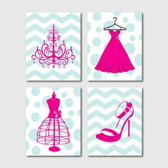 Wall Art - Fashion Shoes Dress Chandelier Dress Form - Chevron Polka dots - Your choice of background - Four 8 x 10 prints - Silhouettes on Etsy, $55.00