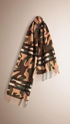 Pine green Camouflage Print Check Cashmere Scarf - Image 1