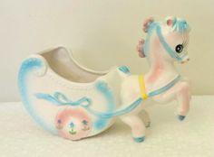 Vintage PATMAR Japan Baby Planter Horse Carraige Blue