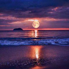 Portofolio Fotografi Keindahan Laut – A Beautiful Sunset Beautiful Moon, Beautiful Beaches, Beautiful World, Shoot The Moon, Image Nature, Art Nature, Beach Scenes, Belle Photo, Amazing Nature