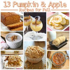 13 delicious Pumpkin & Apple Recipes for Fall.  Not all are GF but great ideas going in here! Sub GF flour +add gum