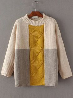 To find out about the Color Block Cable Knit Drop Shoulder Sweater at SHEIN, part of our latest Sweaters ready to shop online today! Diy Pullover, Knitting Pullover, Knit Fashion, Cable Knit Sweaters, Long Sweaters, Pullover Sweaters, Knitting Projects, Knitting Patterns, Knitting Ideas