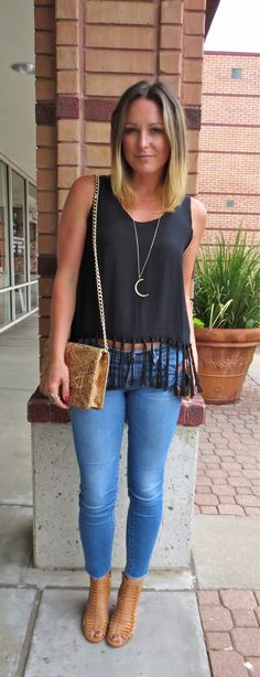 Style Elements: Nicole Miller Tassel Tank, AG Jeans Legging, Miranda Frye Crescent Necklace, Kelly Wynne Forever Classy Clutch  For more inf...