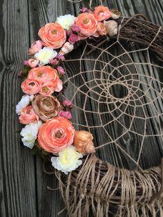 18 Dream Catcher Wreath Coral Wreath Dream by ZenLunaticNYC