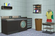 The Sims 2 | Rented-Space: 3t2 Bayside Laundry Deco Set #thesims2