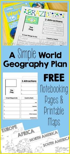 A Simple World Geography Homeschool Plan ~ AND free country notebooking pages and printable maps! A Simple World Geography Homeschool Plan ~ AND free country notebooking pages and printable maps! The Plan, How To Plan, Geography Activities, Geography For Kids, Geography Lesson Plans, Teaching Geography Elementary, World Geography Lessons, Geography Quotes, Middle School Geography