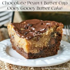 For the chocolate and peanut butter lovers. This Chocolate Peanut Butter Ooey Gooey Butter Cake is sure to become a family favorite dessert. Peanut Butter Desserts, Chocolate Desserts, Cooking Chocolate, Peanut Butter Chocolate Cake, Sweet Recipes, Cake Recipes, Baking Recipes, Soup Recipes, Chicken Recipes