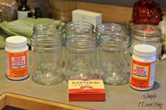 """""""I have a huge collection of mason jars for canning and I had some to spare,"""" says Kendra at Simply {Darr}ling. She decided to use those spares to experiment with tinting glass. It's pretty common..."""
