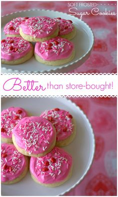 That's how I would describe these Soft Frosted Sugar Cookies! This is a copycat for the Lofthouse sugar cookies and they actually taste better than the grocery store variety! (frosting for cookies grocery store) Cookie Desserts, Just Desserts, Cookie Recipes, Delicious Desserts, Dessert Recipes, Yummy Food, Cheesecake Cookies, Soft Frosted Sugar Cookies, Sugar Cookie Frosting