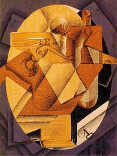 Juan Gris: The Table, Spring 1914 - Pasted paper and gouache on canvas (Philadelphia Museum of Art)