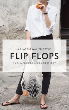 Flip flops used to be one of those huge style no-no's for us, until this brand changed our minds. See how Jess styles our favorite flip flops for a casual-chic summer day. #fashion2018 #fashiontrends2018 #summerfashion #summerstyle #summervibes #netbag #nettote #blackandwhite #minimalstyle Spring outfit, summer outfit, simple outfit, casual outfit, comfy outfit, black and white outfit, minimal outfit, minimalist, minimal style