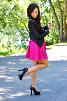 Fuchsia skirt and studded leather jacket  http://www.flirting-with-fashion.blogspot.com