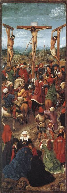 """Crucifixion"" (1430-40) by Jan van Eyck (1395-1441). Díptico; outra parte ""The Last Judgement"""