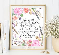 Christian decor verses for the wall decoration He will cover you Nursery Bible verse wall art print decor Psalm 91:4 scripture art 3-15