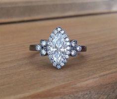 60161a91e Etsy Victorian Black Rhodium G-H Moissanite Marquise Halo Diamond Flower  Gemstone Engagement Ring Antique Gemstone Engagement