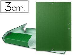 Carpeta proyectos Liderpapel folio lomo 30mm carton forrado verde 25279, Hipermaterial.