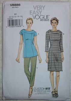 Very Easy Vogue Pattern V8886  Dress, Top and Pants Pattern Misses' Sizes 8 - 16