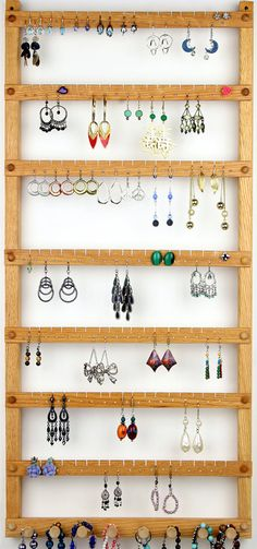 126 Pairs of Hanging Earring Holders - Jewelry Organizer, Oak, Wood, Necklace Display. jewelry holder DIY hook hanger for jewelry organizationJewelry organizer made of wooden hangers and pack of Diy Necklace And Earring Holder, Diy Earrings Etsy, Diy Jewelry Holder, Necklace Display, Earring Display, Wood Necklace, White Necklace, Jewelry Rack, Tree Necklace