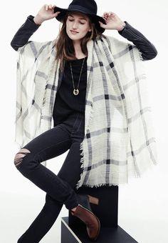 black top, gold necklace, dark denim, checkered scarf