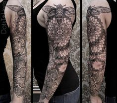 Mandala sleeve tattoo for man - Magnificent looking shoulder mandala tattoo. You can see a giant bee hovering above the flowers conveying that the bee is ready to collect the honey from the flowers which signifies the force of life.