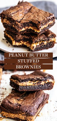Peanut Butter Stuffed Brownies are chewy, fudgy chocolate brownies stuffed with a thick layer of peanut butter for the best treat. Easy, homemade, from-scratch recipe - no boxed mix here! The best dessert idea for a crowd too! Easy No Bake Desserts, Easy Desserts, Delicious Desserts, Dessert Recipes, Chocolate Peanut Butter Brownies, Chocolate Desserts, Trifle Pudding, Cheesecake Desserts, Peanut Butter Recipes