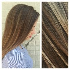 Hand #painted shadow #root with #multidimensional #balayage #highlights!  • • • Root #formula: Rusk Deep Shine 6Nw with a few ribbons of 5Nw. Balayage: Painted with #Wella #Freelights. #Blondes: Toned with #Redken shadeseq 7GB mixed with clear ✨ #hairtutorial #colorformula