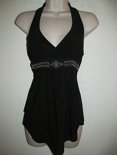 Body Central Black Stretch Beaded Lace Waist Empire Halter Tank Top Sz M | eBay