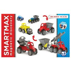 SmartMax Vehicles Rescue Team - Magnetically click together to make simple construction and rescue trucks.  These chunky pieces make building fun.  Magnetic bars and balls keep things attached.  Wheels keep your trucks moving along