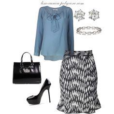 """Black n White patterned Skirt"" by lisa-eurica on Polyvore"