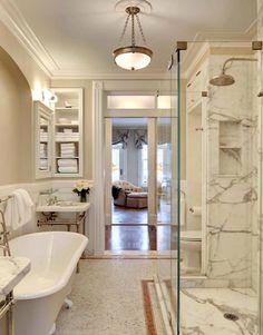 Suzie: John B Murray Architect - Stunning master bath with twin 2 leg marble washstand, mosaic ...