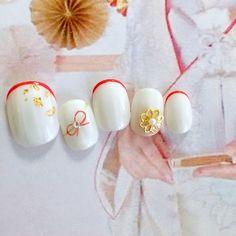 ハンドメイドマーケット+minne(ミンネ) +【+再販×12+】やまとなでしこネイル*白無垢や色打ち掛けに…♡ New Year's Nails, Fun Nails, Japanese Nails, Kimono Fashion, Wedding Nails, Nail Designs, Stud Earrings, Work Nails, Nail Desings