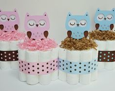 Owl Diaper Cake Baby Shower Centerpiece от LanasDiaperCakeShop