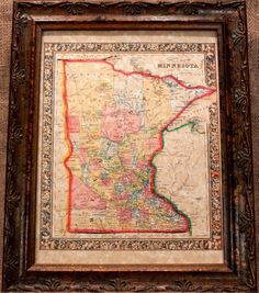 Minnesota State Map Print of an 1864 Map on by apageintime on Etsy, $8.50