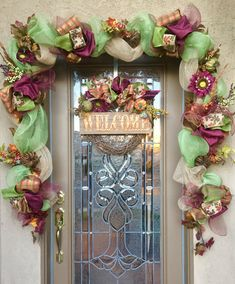 Decorate your front door with this 10 1/2 foot custom Fall Garland and Wreath made with deco mesh and burlap wired ribbon and fall florals in edgy colors of Tan, Burgundy, green and Copper. Each Garland is custom-made, if you need a different size or color please message me. I would be happy to make something special for you.