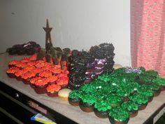 Minecraft cupcake cake.
