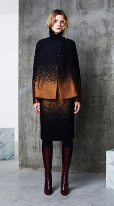 I don't know if this is knit, but it could be. I love knitted ombre, and these colors are absolutely gorgeous together.  Must try....                                                                  Pringle of Scotland_ pre fall 2014