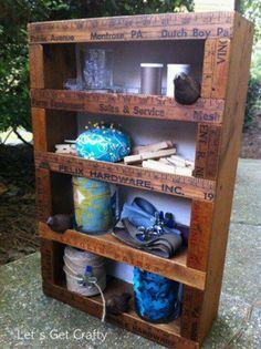 Vintage yard sticks make a lovely trim for furniture.love this shelf :) ♥ via… Ruler Crafts, Craft Stick Crafts, Wood Crafts, Diy Crafts, Wood Projects, Woodworking Projects, Craft Projects, Craft Ideas, Woodworking Images